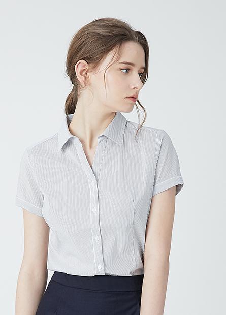 V領商務短袖襯衫