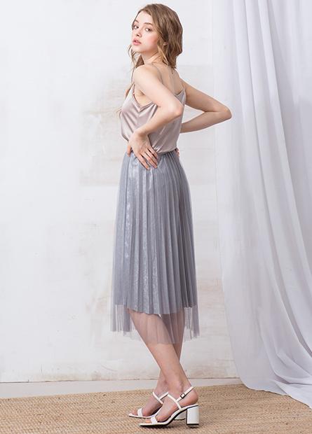 亮粉網紗百摺長裙