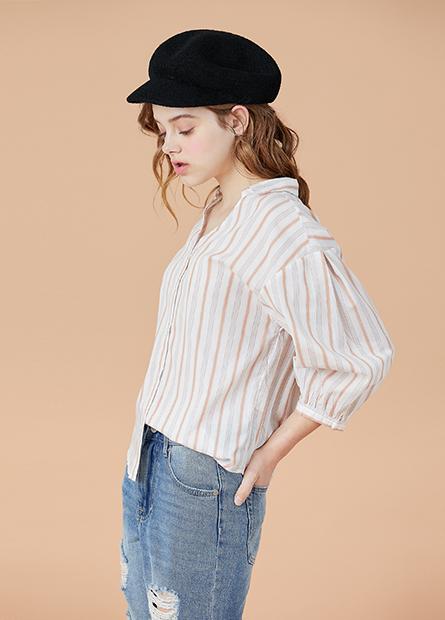 V領壓摺中長袖襯衫