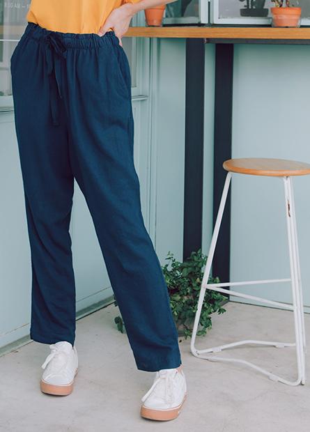 素色抽繩長褲