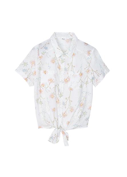 下襬綁結反摺短袖襯衫