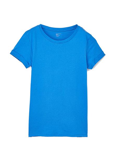素色圓領反摺短袖上衣