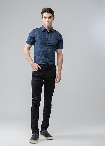 Skinny Fit反摺短袖襯衫