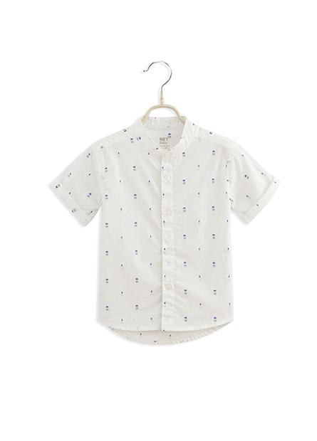 男嬰立領反摺短袖襯衫
