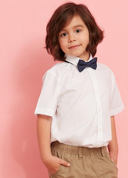 男嬰附領結短袖襯衫