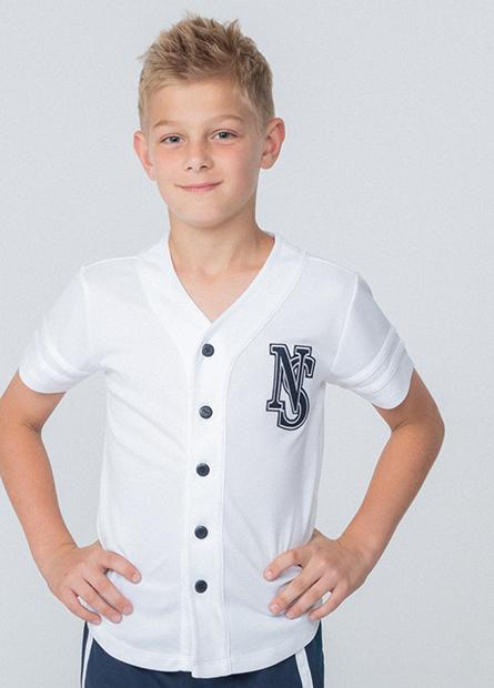 男童棒球風袖字上衣