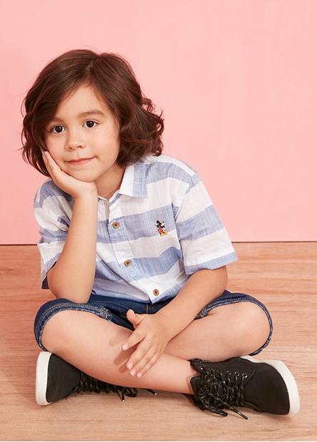 男童米奇條紋襯衫