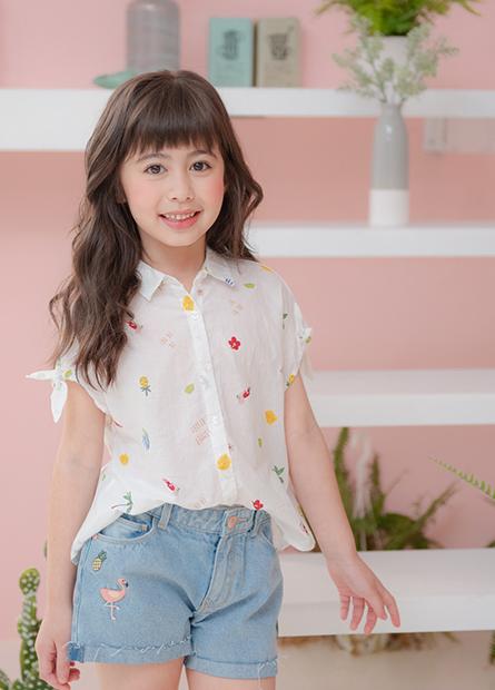 女童下襬綁帶短袖襯衫
