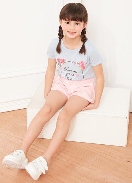 女童花框亮粉字母T