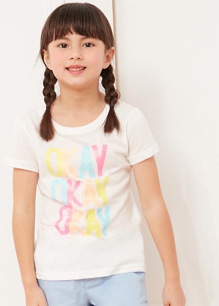 女童泡泡袖亮粉字母T
