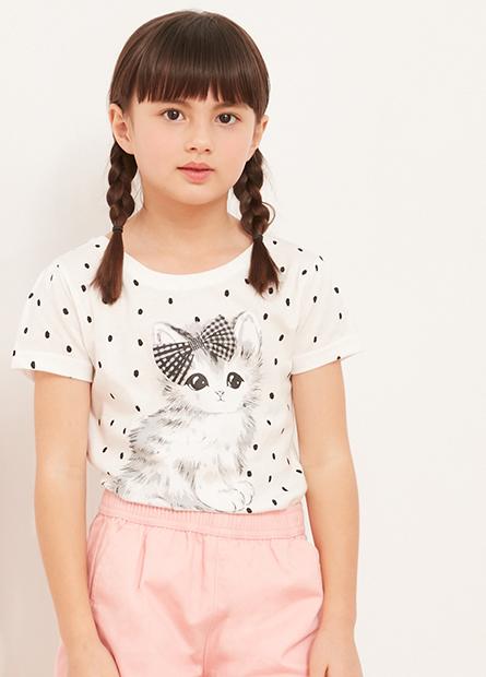 女童貓咪泡泡袖T