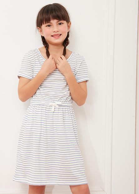 女童印花縮腰洋裝