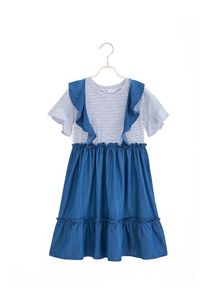女童假兩件荷葉洋裝