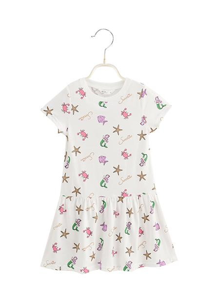 女童條紋印花低腰洋裝