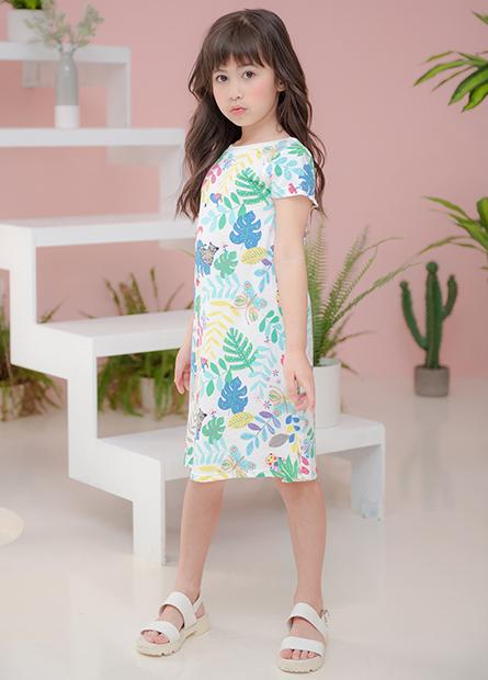 女童字母印花A字洋裝