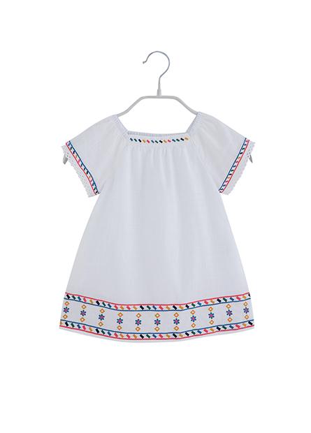 女嬰幾何繡圖洋裝