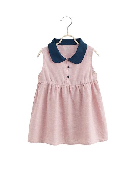 女嬰有領高腰剪接洋裝