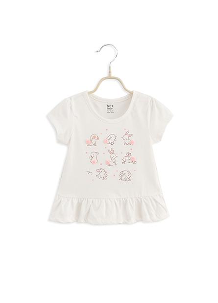 女嬰兔子插畫下襬抽皺T