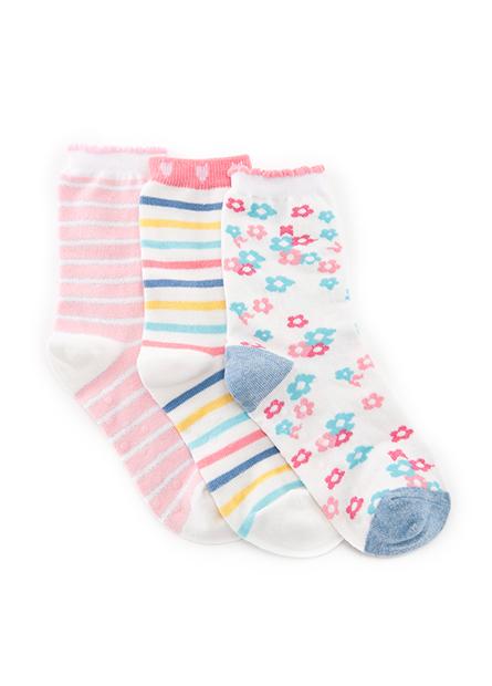 女童提花條紋短襪(三入)