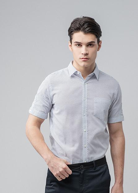 Slim Fit標準領反摺袖襯衫