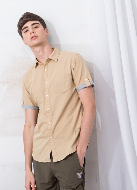 Slim Fit捲釦袖字母襯衫