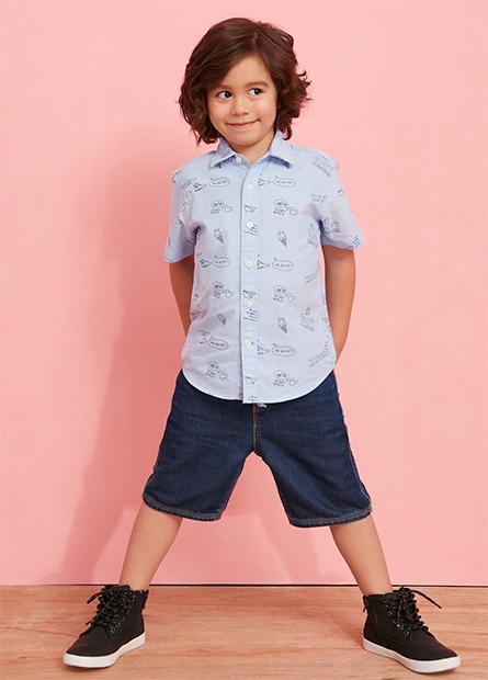 男童滿版米奇短袖襯衫