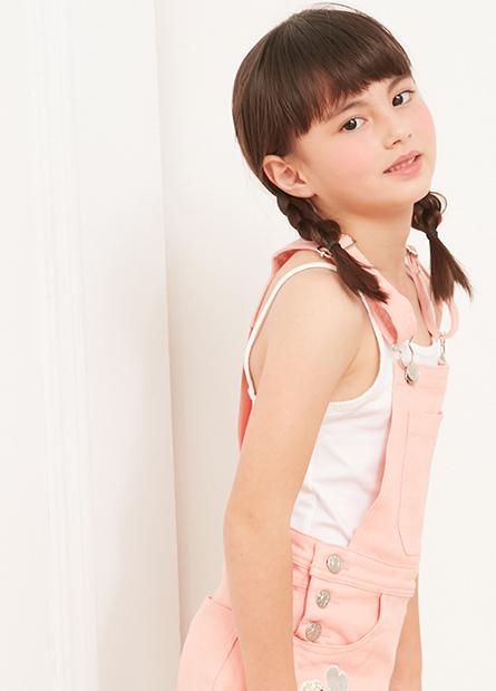 女童素色細肩帶背心