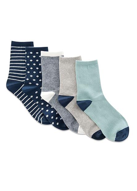 女素色條點長襪(五入)