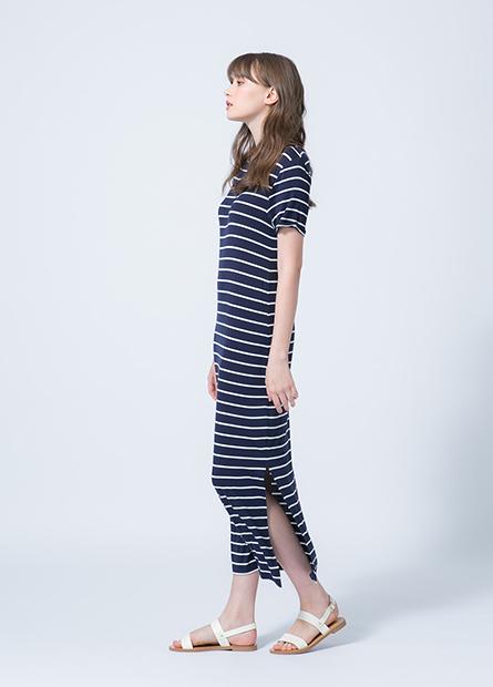 側開衩反摺短袖長洋裝