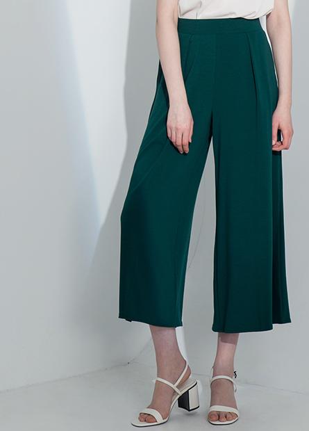 素色針織寬長褲