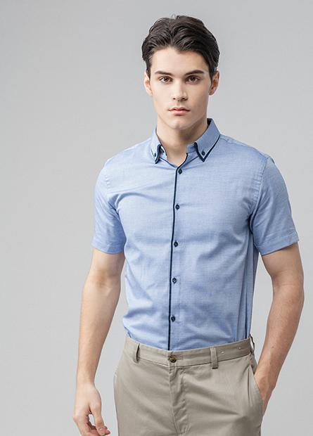 Slim Fit拼色短袖襯衫