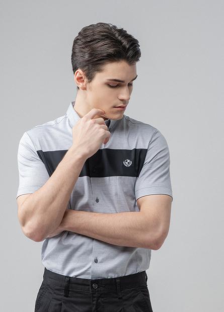 Slim Fit拼接短袖襯衫