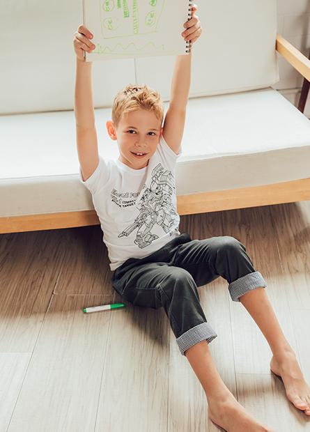 男童線條機器人捲袖T