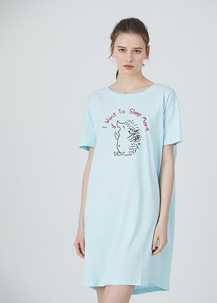 動物插畫字母家居洋裝