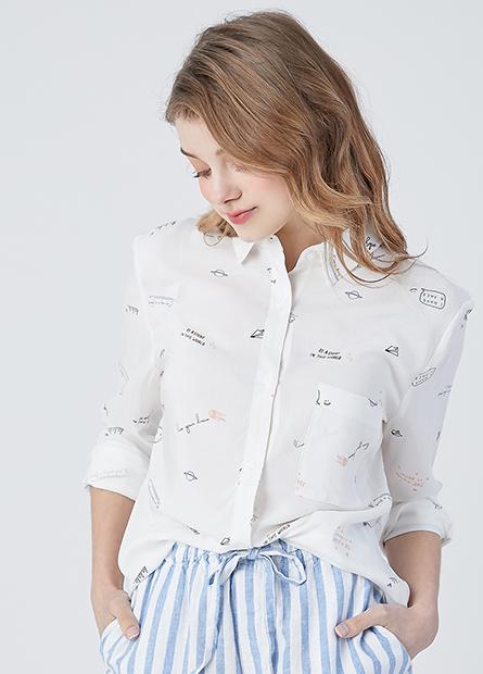 滿版印花單口袋襯衫