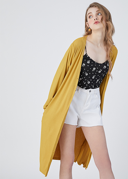 V領素色長版薄外套