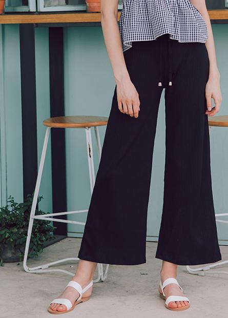 素色羅紋抽繩寬長褲