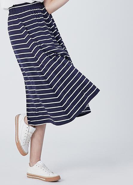 素色條紋長裙