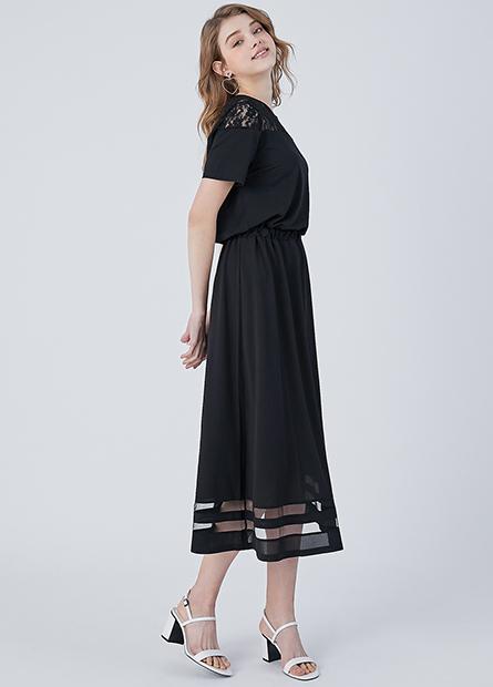 蕾絲網紗拼接縮腰洋裝