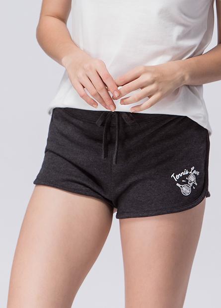 網球插畫圓角短褲