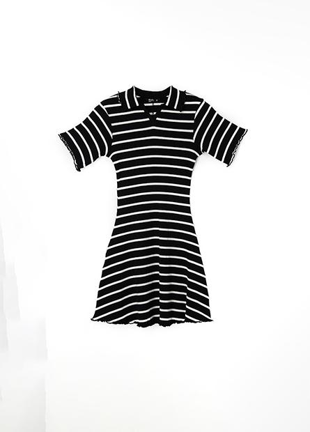 條紋捲邊領羅紋洋裝