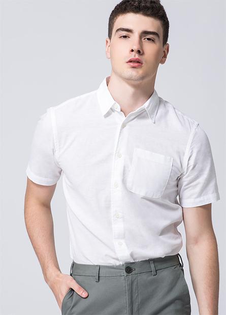 棉麻單口袋短袖襯衫