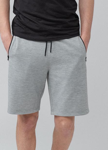 素色拉鍊口袋短褲