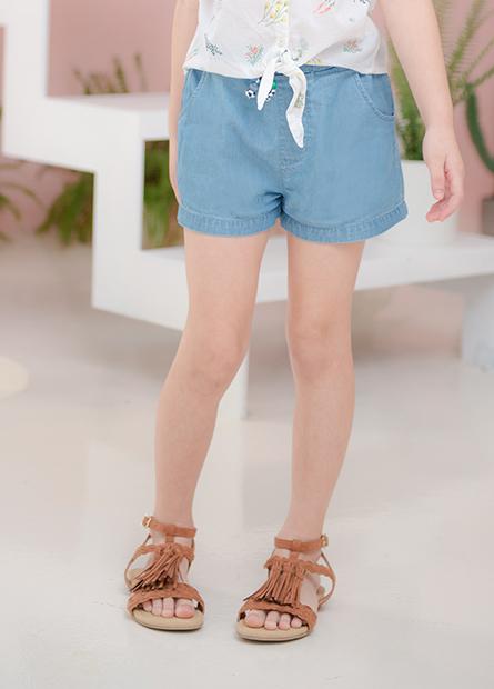 女童木珠抽繩牛仔短褲