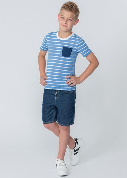 男童條紋單口袋上衣