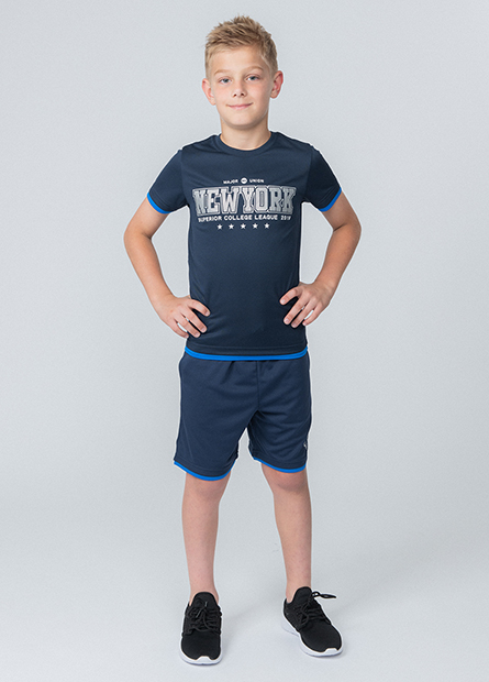 男童雙層撞色印字短褲