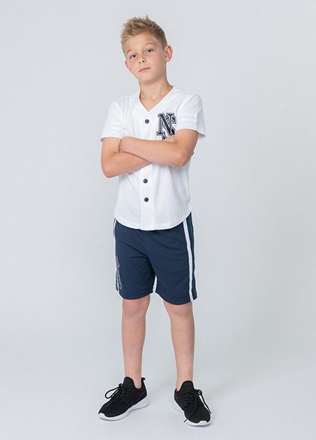 男童雙色配條字母短褲