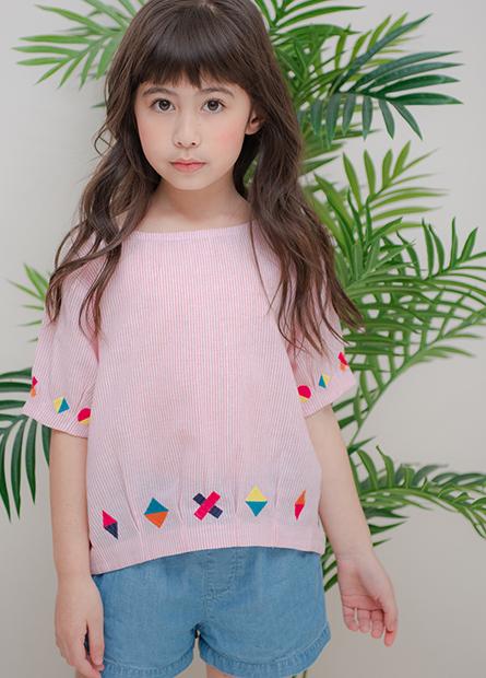 女童條紋袖襬繡花上衣