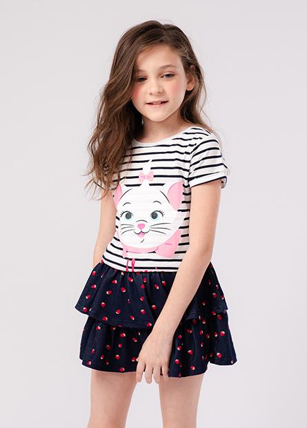 女童瑪莉貓反摺短袖T