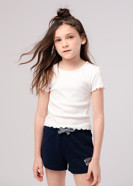 女童印字抽繩毛圈短褲